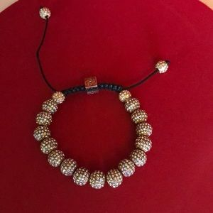 Adjustable Leather and Pave Crystals Bracelet.